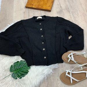 Tally-Ho Wool Black Button Long Sleeve Cardigan M